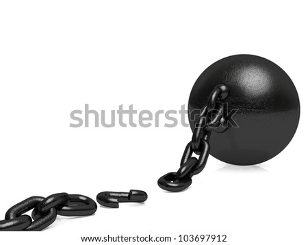 Ball and Chain - Broken Free. A broken link freeing the captured. - stock photo