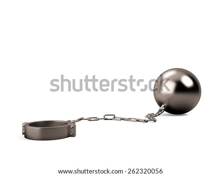 Ball and chain isolated on a white background - stock photo