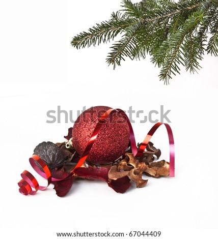Ball and christmas tree - stock photo