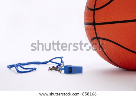 Ball and whistle on a white background 1 - stock photo