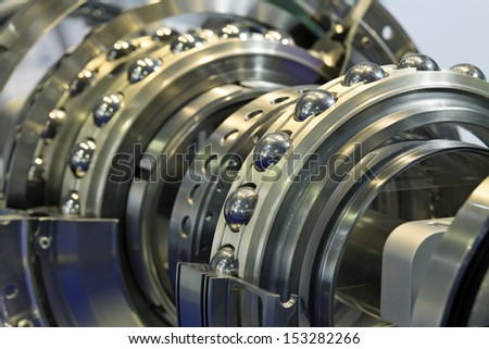 Ball bearing in the cut, showing the mechanism - stock photo