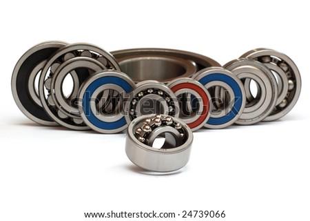 Ball bearings, isolated on white - stock photo