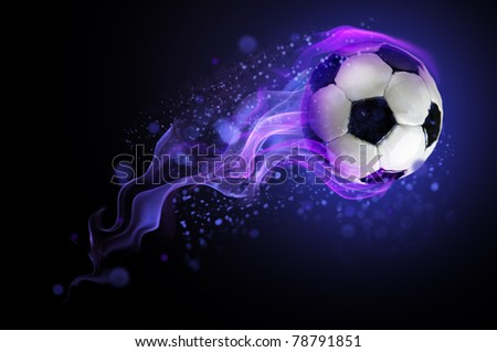 ball burning blue flame - stock photo