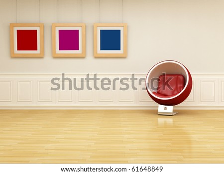 Ball chair in a classic interior with colored empty frame - rendering - stock photo