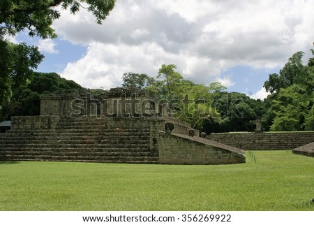 Ball court in Mayan Copan site in Honduras - stock photo
