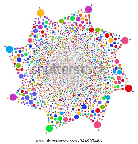 Ball Fireworks Flower glyph illustration. Style is bright multicolored flat balls, white background.