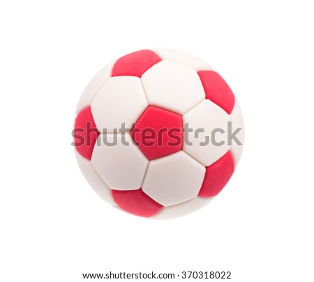 Ball football soccer white and red isolated on white background - stock photo