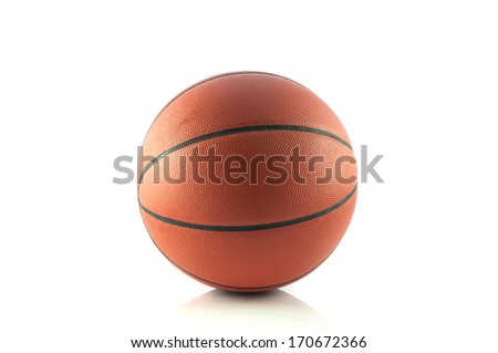 Ball for game in basketball on white background - stock photo
