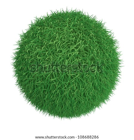 Ball from green grass isolated at white background - stock photo