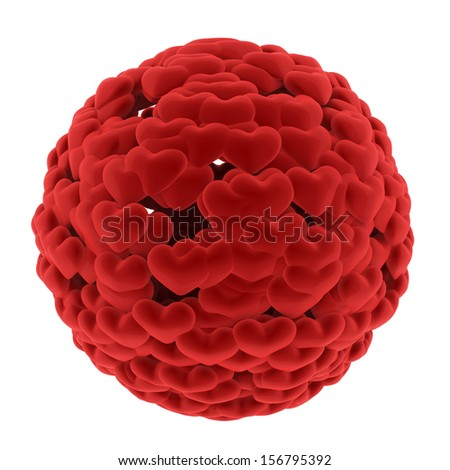 Ball from red hearts isolated at white background. 3d render illustration - stock photo
