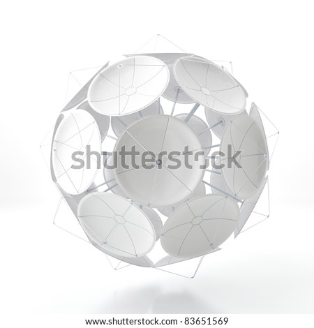 Ball from satellite dishes isolated on a white background - stock photo