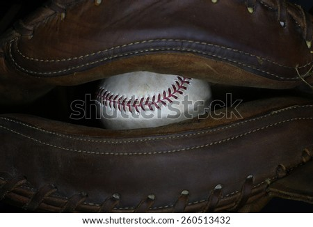 Ball In Glove - stock photo