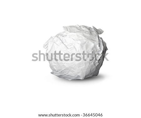 ball made of crumpled and wrinkled paper - stock photo