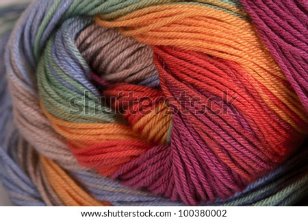 Ball of a color wool yarn for needlework - stock photo