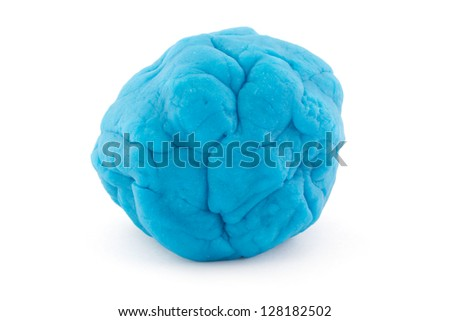 Ball of blue play dough over white - stock photo