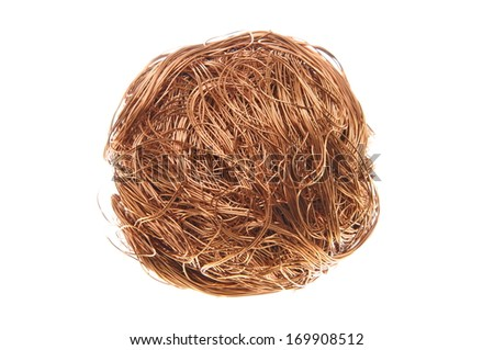 Ball of copper wire isolated on white background  - stock photo