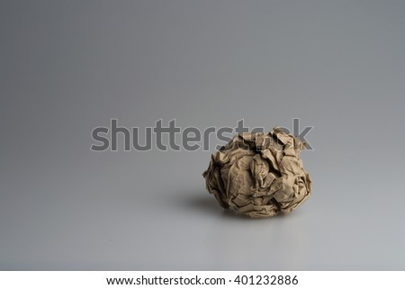 ball of crumpled paper, on white and round - stock photo