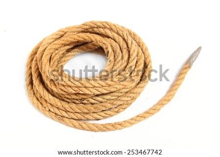 Ball of hemp rope isolated on white background. - stock photo