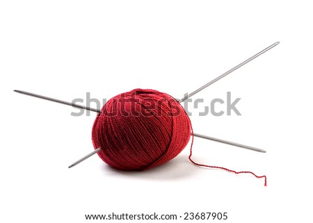ball of knitting isolated over white background - stock photo