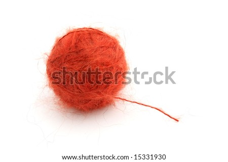 Ball of knitting red yarn(mohair) - stock photo