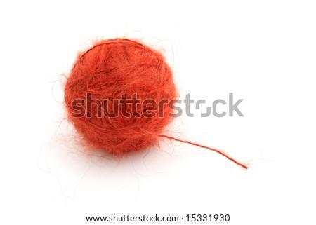 Ball of knitting red yarn(mohair) - stock photo