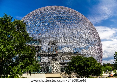 Ball of steel, Biosphere in Montreal, Canada - stock photo