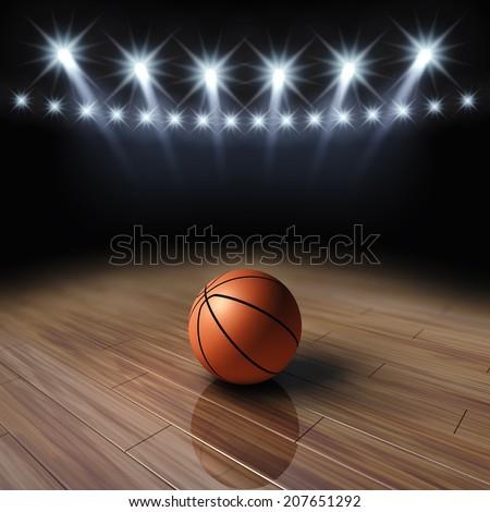 Ball on basketball court with spotlights , Basketball arena - stock photo