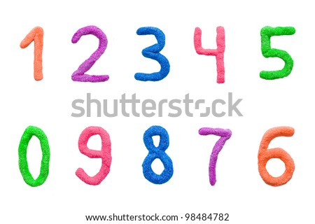 ball plasticine colorful number set, isolated on a white background with clipping path. - stock photo