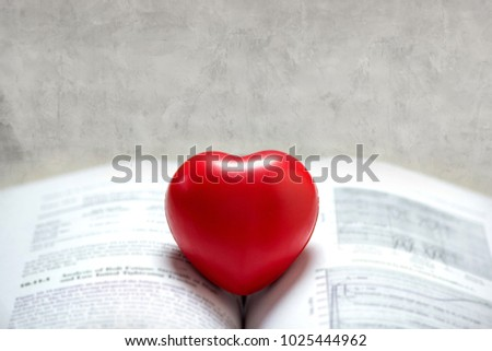 Ball Red heart on the book, Concept : Valentines day, love, love reading