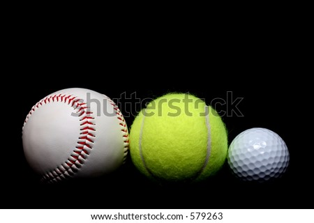 ball sports - a base ball, tennis ball, and golf ball side by side, close up over black