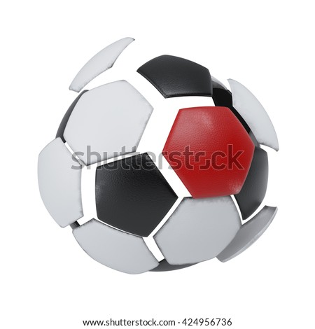 Ball with a red patch - 3d illustration