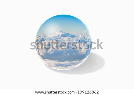 Ball with clouds inside on white background
