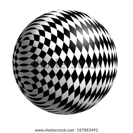 Ball with monochrome geometric pattern on a white background - stock photo
