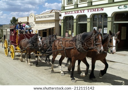 BALLARAT, AUSTRALIA - JANUARY 23: Unidentified people in authentically reconstructed gold digger village named Sovereign Hill in South Australia, on January 23, 2008, in Ballarat, Australia