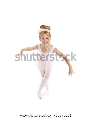 Ballerina girl dancer dancing isolated on white - stock photo