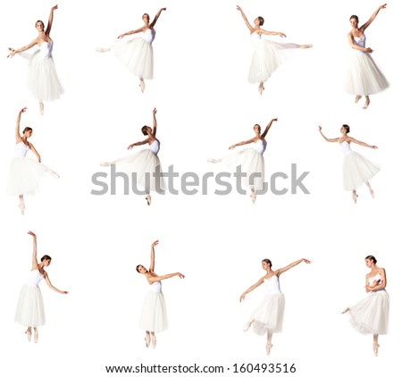 Ballerina in 16 different poses - stock photo