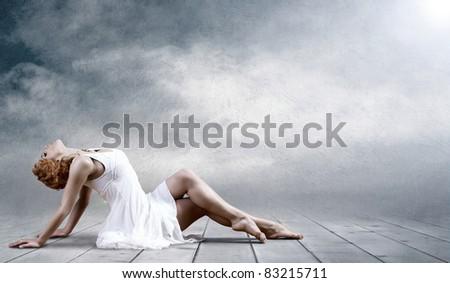 ballerina in white - stock photo