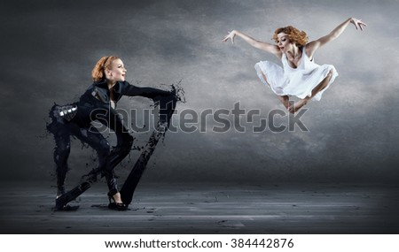 Ballerina in white and black. - stock photo