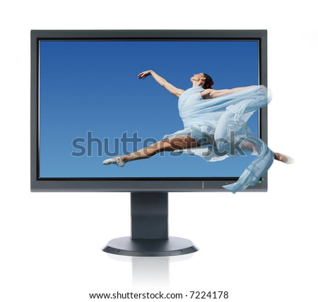 Ballerina jumping into a monitor isolated on a white background