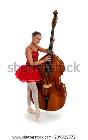 Ballerina Teen with Double Standup Bass - stock photo