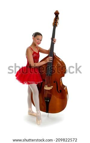 Ballerina Teen with Double Standup Bass - stock photo