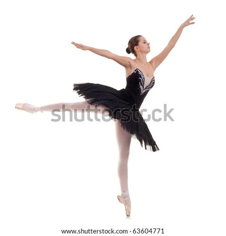 ballerina wearing black tutu posing on studio background - stock photo