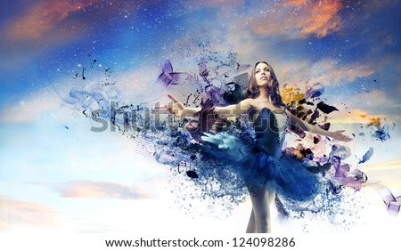Ballerina with a blue painted dress - stock photo