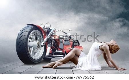 Ballerina with bike - stock photo