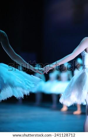 Ballerinas on the stage, Swan Lake ballet - stock photo