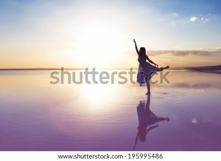Ballet at sunset - stock photo