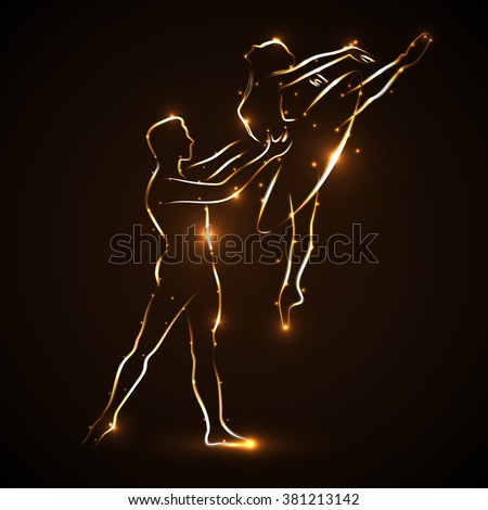 Ballet. Couple dancing ballet. Ballerina and her partner. Pair statement. Man dancer supports waist ballerina while jumping. Abstract silhouette of two dancers with golden light outline. Logo. Icon. - stock photo