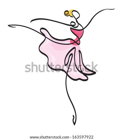 Ballet Dancer in pink dress - stock photo