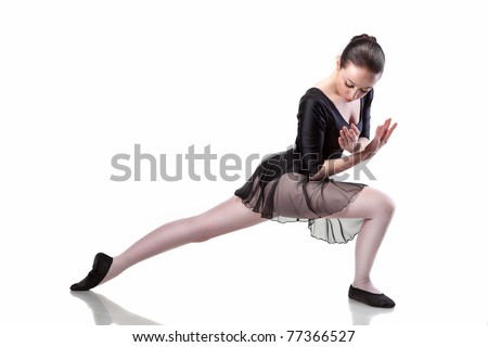 ballet dancer isolated on white - stock photo