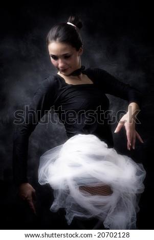 ballet dancer practicing, studio shot - stock photo